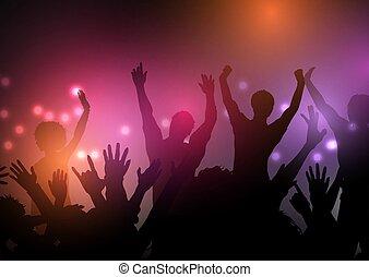 festa, folla, 1103, luci, fondo