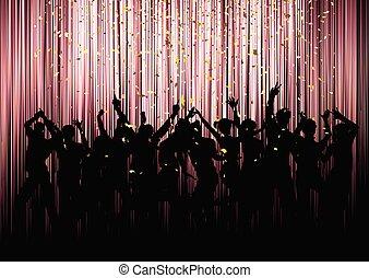 festa, folla, coriandoli, fondo