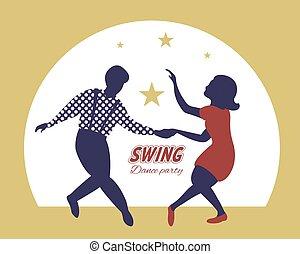 festa, fondo, manifesto, oro, altalena, ballo