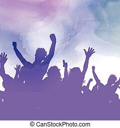 festa, fondo, watercolour, folla