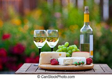festa, giardino, &, vino, formaggio