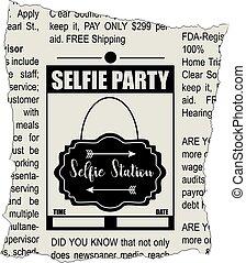 festa, giornale, selfie, frammento, classifieds