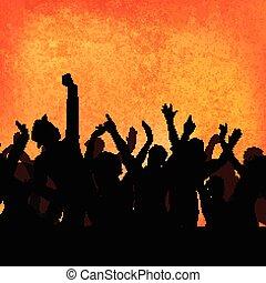 festa, grunge, folla