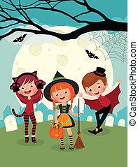 festa, halloween, bambini