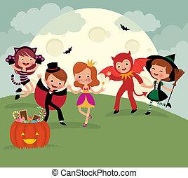 festa, halloween, bambini, notte