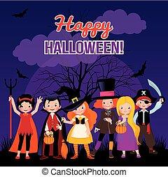 festa, illustrazione, vettore, costume halloween, bambini, mostri, notte