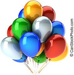 festa, multicolor, compleanno, palloni