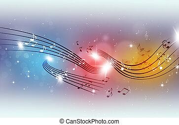 festa, multicolor, note musica