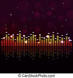 festa, musica, fondo, equalizzatore