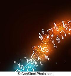 festa, note, musica, luci