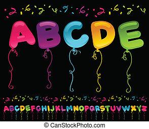 festa, palloni, alfabeto