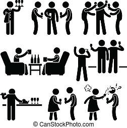festa, persone, cocktail, amico, uomo