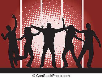 festa, -, sfondo rosso, persone