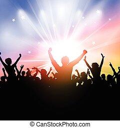 festa, starburst, fondo, folla