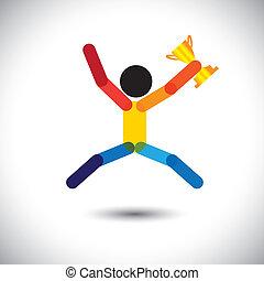 festeggiare, colorito, icona, persona, vettore, winning.