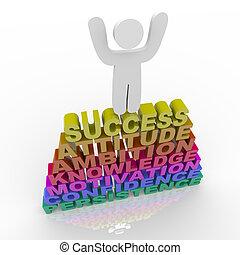 festeggiare, -, parole, successo, persona