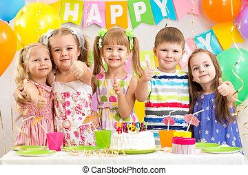 festeggiare, preschoolers, bambini, festa compleanno