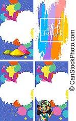 festival, dipinti, quattro, colorito, disegno, fondo, holi