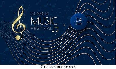 festival, fondo, chiave, triplo, note musica