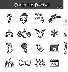 festival, icona, set, 2, natale