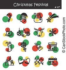 festival, icona, set, 4, natale