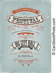 festival, manifesto, grunge, invito