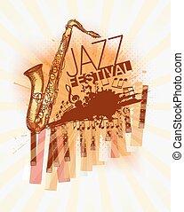festival, musica jazz, fondo, sagoma