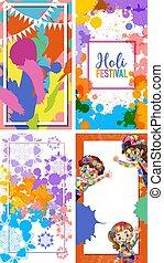 festival, quattro, colorito, cornice, progetta, india, fondo, holi