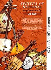 festival, strumenti, nazionale, vettore, musica, manifesto