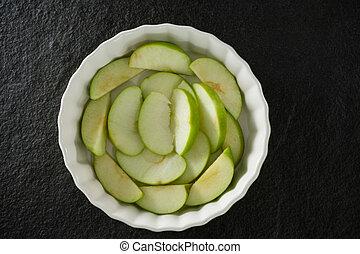 fetta, ciotola, mela, verde
