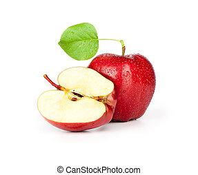 fetta, foglia, mela, isolato, bianco rosso