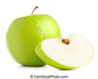 fetta, mela, è, isolato, verde bianco