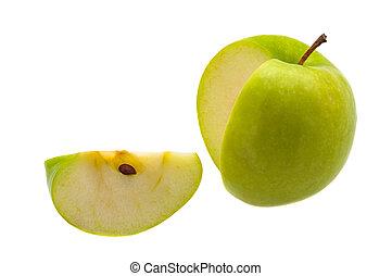 fetta, mela, grande, fondo., taglio, verde, fresco, bianco
