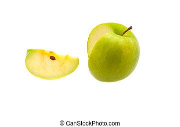 fetta, mela, isolated., grande, fondo., singolo, taglio, verde bianco, era, via.