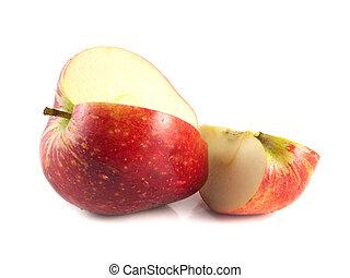 fetta, mela, isolato, affettato, bianco rosso