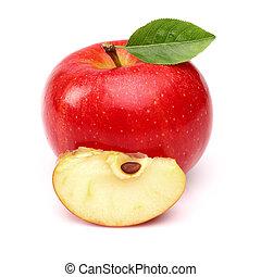 fetta, mela, rosso