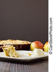 fetta, mela, verticale, la, torta, mangiato, mezzo, modo