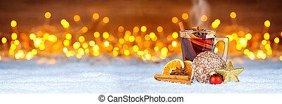 fetta, panorama, pasticciato, spiced, caldo, boccale vetro, sfondo rosso, arancia, pan zenzero, natale, mercato, vino