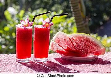 fetta, sano, due, su, smoothie, anguria, chiudere, mattina, watermelon.