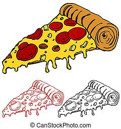 fetta, succoso, pizza