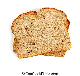 fette, due, grano, bianco, intero, bread
