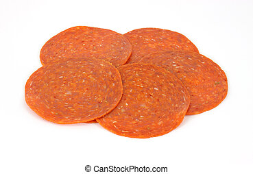fette, pepperoni, fondo, bianco