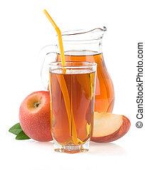 fette, succo, isolato, mela, vetro, bianco