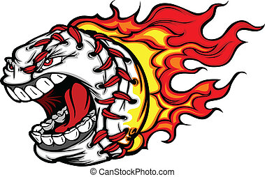 fiammeggiante, baseball, grido, softball, o