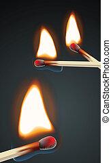 fiammeggiante, set, fiammifero
