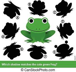 fiammiferi, uggia, verde, cartone animato, rana