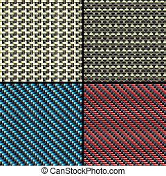 fibra, carbonio, kevlar, set, modelli, seamless, decorativo