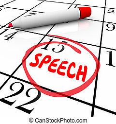 fidanzamento, importante, remin, circondato, data, discorso, calendario, parlante