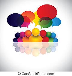 fidanzamento, persone ufficio, comunicazione, discussioni, bambini, personale, &, media, anche, impiegato, riunione, bambini, interazione, conferenza, rappresenta, grafico, comunicazione., parlare, vettore, sociale, o