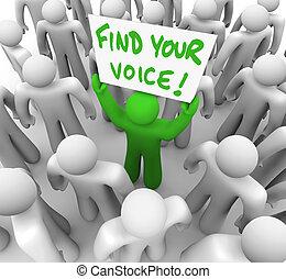 fiducia, folla, -, segno, trovare, presa a terra, voce, tuo, uomo